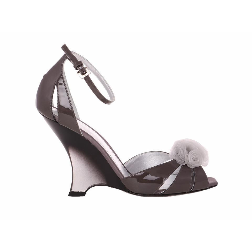 Giorgio Armani Taupe Gray New Women Wedge Patent Leather Slim Wedge Women Heel Peep Toe D'orsay Sandals 70af5d