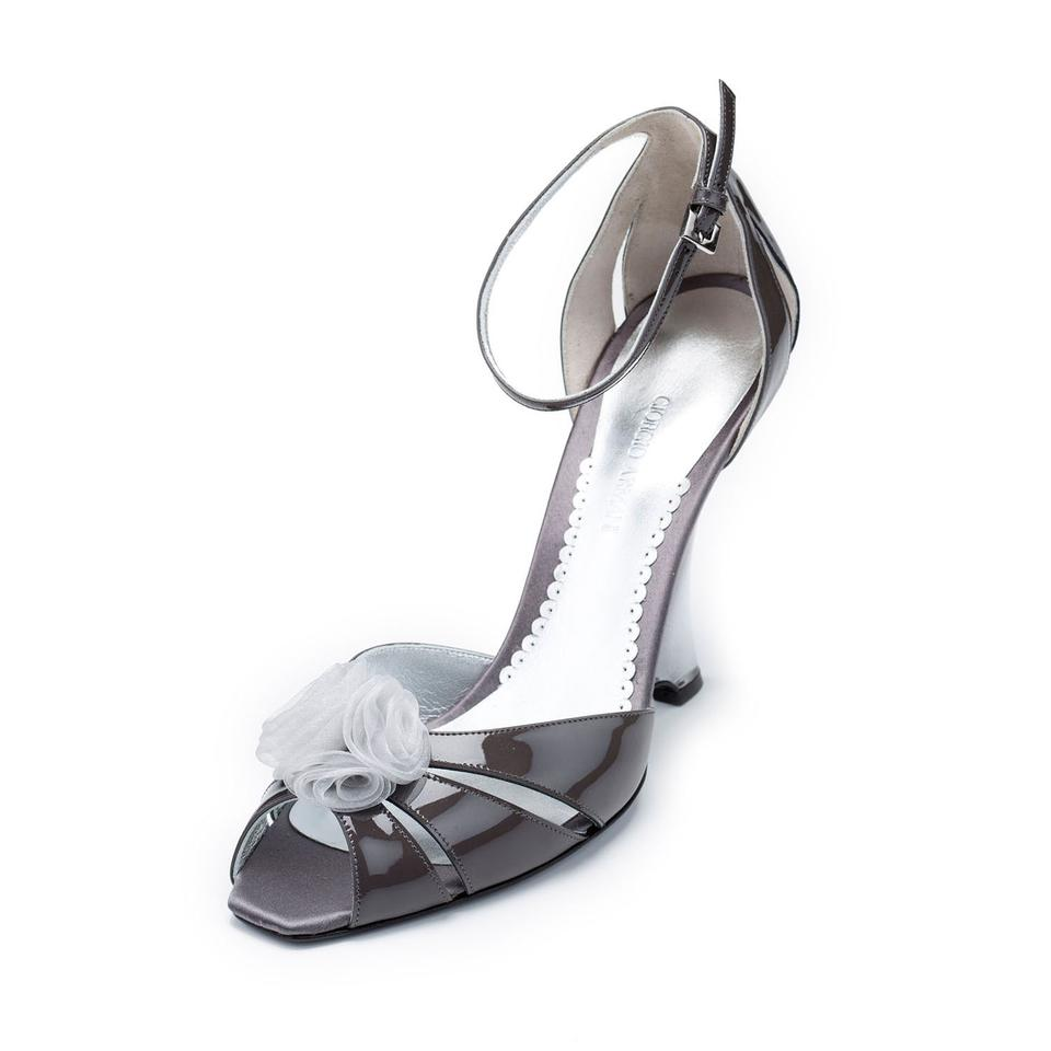 Giorgio Armani Gray New Women Patent Leather Slim Heel Wedges Peep Toe Pumps Sandals Wedges Heel 4fa19a