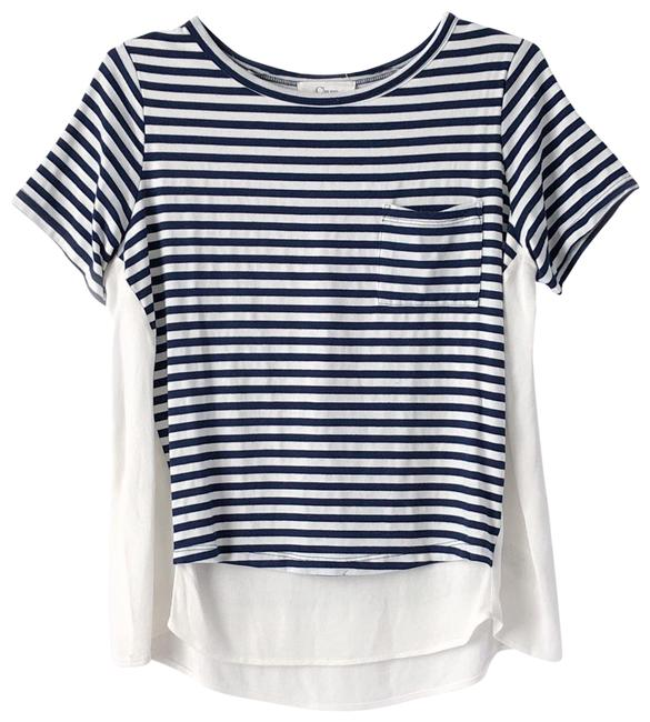Preload https://item2.tradesy.com/images/clu-navy-blue-white-ivory-striped-stretch-jersey-washed-crepe-mixed-media-tee-shirt-size-8-m-24049831-0-1.jpg?width=400&height=650