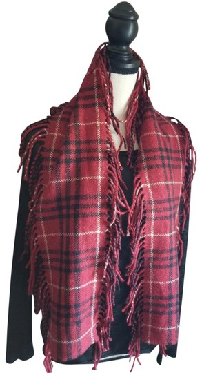 Burberry Red Check Merino Wool Happy Scarf