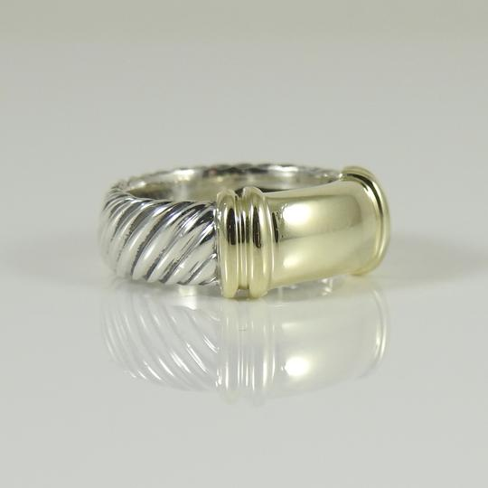 David Yurman David Yurman Sterling Silver 14K Yellow Gold Wide Metro Band Ring