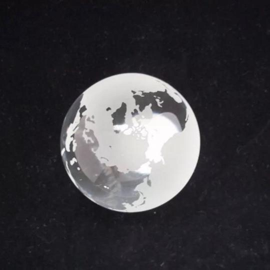 Tiffany & Co. Crystal Frosted Etched Globe Paperweight NEW w/Packaging