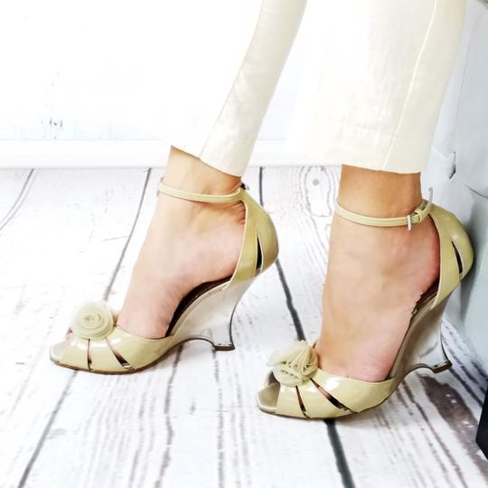 Giorgio Armani Evening Sandals Dress Lacquered Patent Leather Nude Wedges