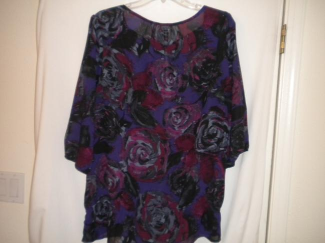 Just My Size Floral 1/2 Sleeve Elastic Drop Waist Top Multi-Color