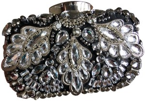 Crystal Collection Metal Satin Purse Beaded Evening Silver and Black and crystal Clutch