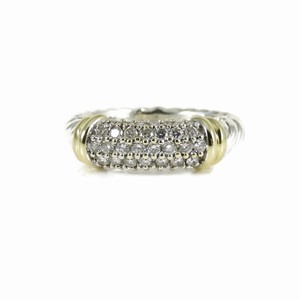David Yurman David Yurman Sterling Silver 18K Pave Diamond Metro Band Ring
