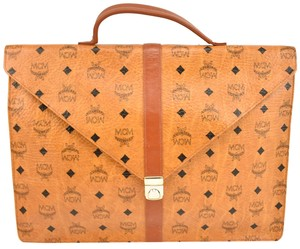 MCM Leather Logo Breifcase Tote in Golden Brown