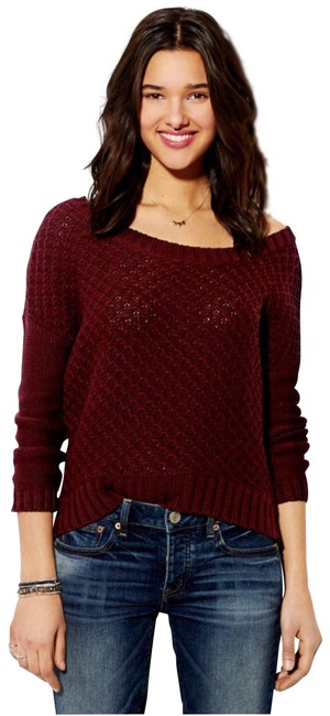 Preload https://item5.tradesy.com/images/american-eagle-outfitters-burgundy-chunky-sweaterpullover-size-8-m-24049994-0-1.jpg?width=400&height=650