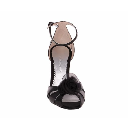 Giorgio Armani Evening Sandals Dress Lacquered Patent Leather Black Wedges