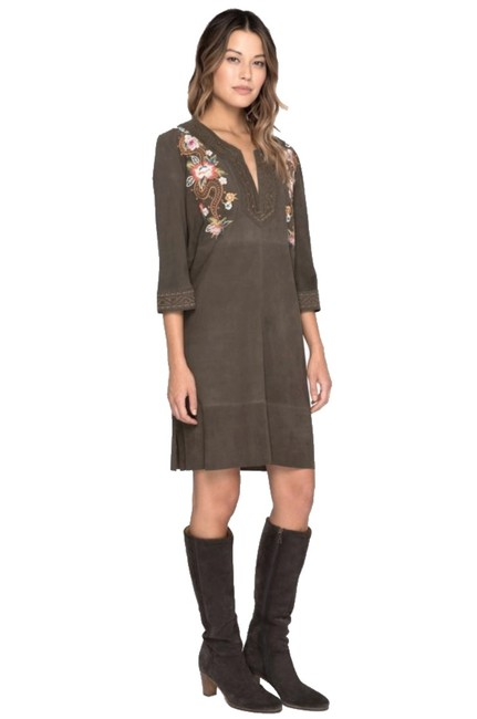 Johnny Was short dress Olive Embroidered Suede Split Neck Hem Vents Self Leather Bold Embroidery on Tradesy