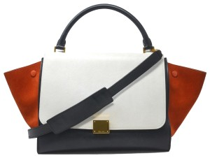 Céline Trapeze Tricolor Leather And Suede Handbag Shoulder Bag