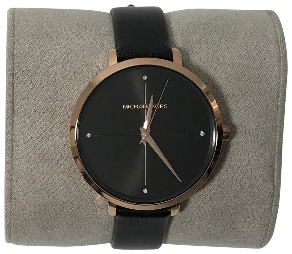 280c4985a825 Michael Kors Black Women s Charley Leather Black Rose Gold Watch ...
