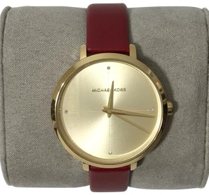 Michael Kors MICHAEL KORS Women's Charley Leather Watch, Red/Gold