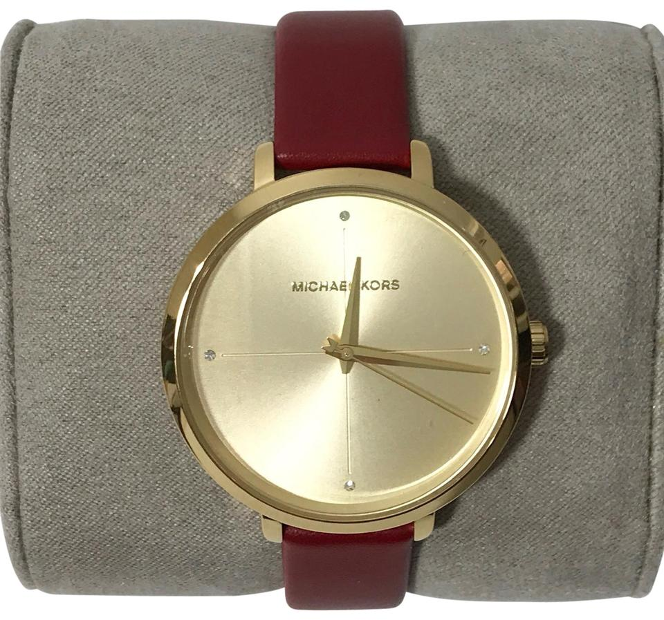 bcf7342e3 Michael Kors MICHAEL KORS Women's Charley Leather Watch, Red/Gold Image 0  ...