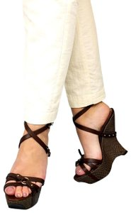Giorgio Armani Evening Sandals Snakeskin Embossed Ankle Strap Brown Wedges