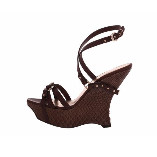 c2adbfb1c496 Giorgio Armani Evening Sandals Snakeskin Embossed Ankle Strap Brown Wedges
