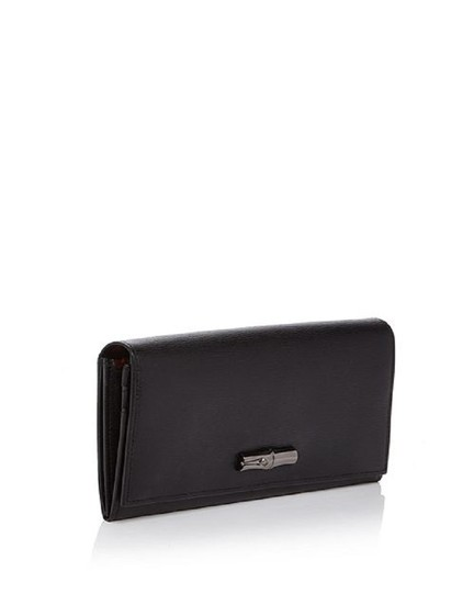 Longchamp Black With Red Interior Roseau Box Leather Continental Wallet Tradesy