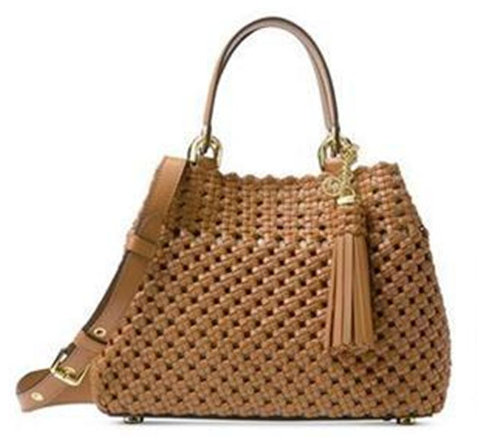 b6a43fe68da0 MICHAEL Michael Kors Brooklyn Woven Small Grab Tote Acorn Brown Leather  Satchel 30% off retail