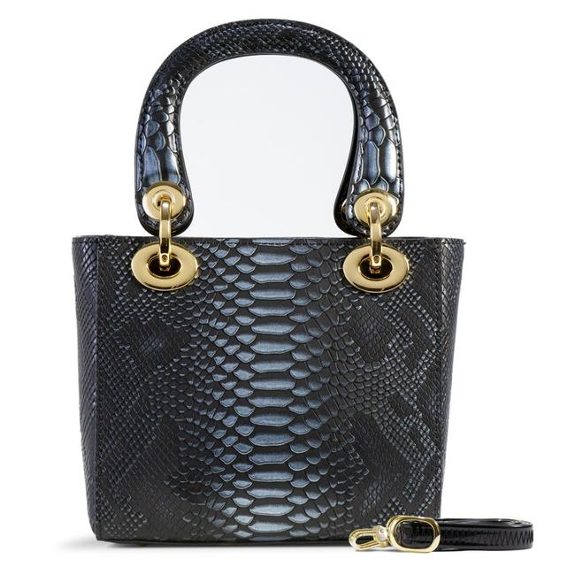 Item - Mini Galina In Python Print Black Leather Cross Body Bag