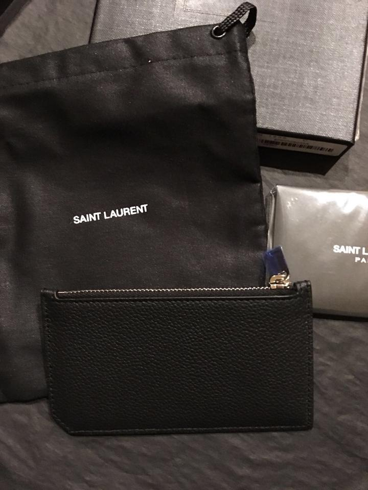 a8ae69dd436fb Saint Laurent Black Textured-leather Cardholder Wallet - Tradesy