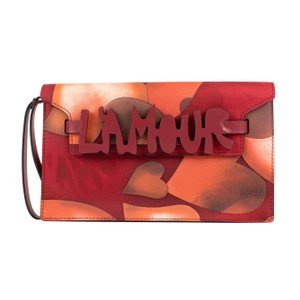Valentino Canvas Made In Italy Leather Hearts L'amour Red Clutch