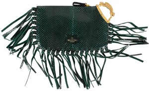 Valentino Snakeskin Emerald Fringe Trim Made In Italy Green Clutch
