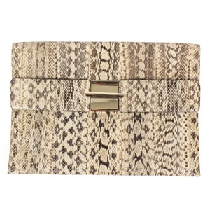 Valentino Python Skin Gold Clasp Made In Italy Leather Ivory Clutch