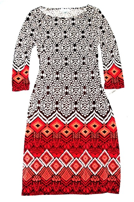 Item - Brown Red Jersey Ikat Print 3/4 Sleeve Knit Mid-length Short Casual Dress Size 10 (M)
