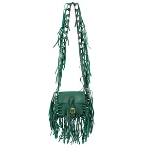 Valentino Fringe Buckle Leather Made In Italy Cross Body Bag