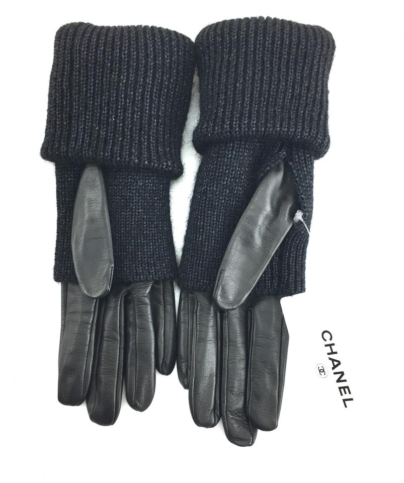 9a72c1a4fe Chanel #22373 Black Cc Long Fold-over Gloves Size 7 Lambskin Leather Silk  Kid Mohair 63% off retail