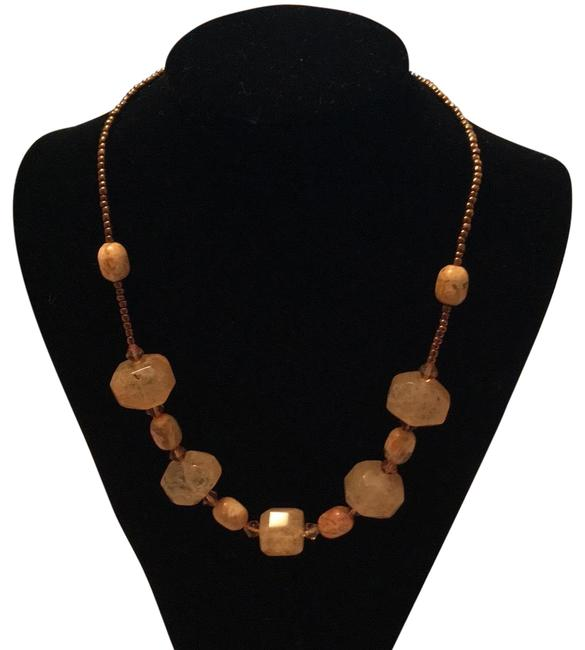 Item - Beige and Amber Natural Semiprecious Statement Collar Necklace