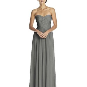 Dessy Charcoal Gray Lux Chiffon 2880 Formal Bridesmaid/Mob Dress Size 12 (L)