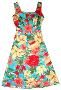Sangria short dress Turquoise Coral Sage Tropical Floral Sundress Fit & Flare Sleeveless on Tradesy