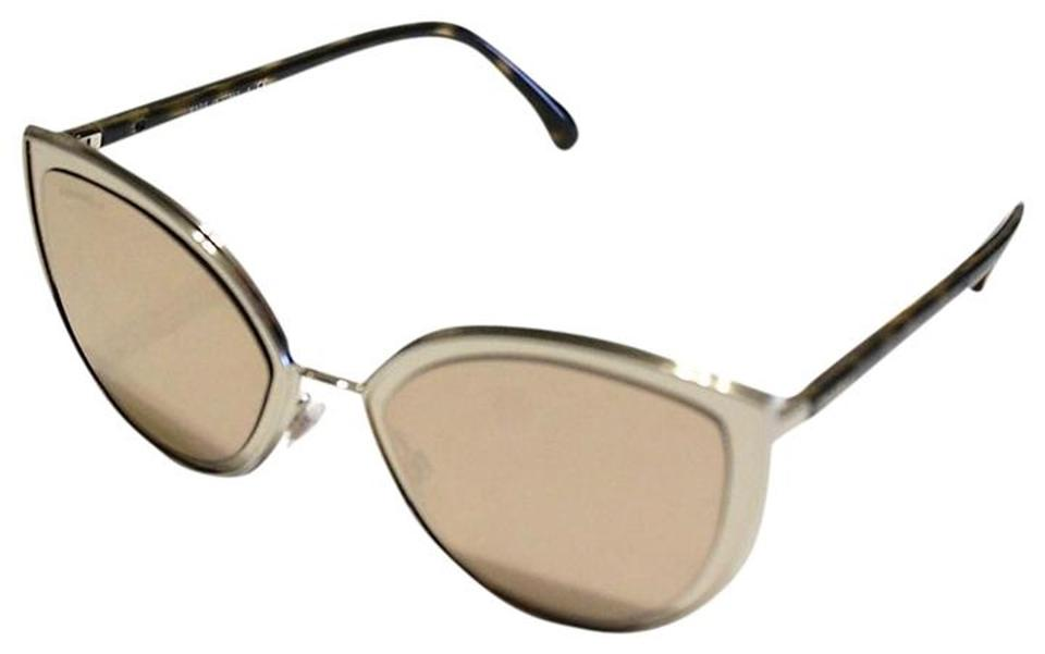 b33eedf1ab Chanel Chanel 4222 Cat Eye Sunglasses Gold Mirrored Brown Arms 54mm Image 0  ...