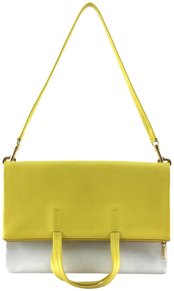 2f53b068ff Céline  22376 Fold Over Cabas 3-way Tote with Strap Yellow and Off-white  Leather Shoulder Bag