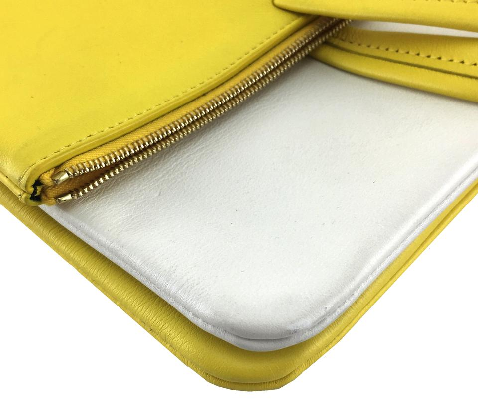 a9f9348592 Céline  22376 Fold Over Cabas 3-way Tote with Strap Yellow and Off ...