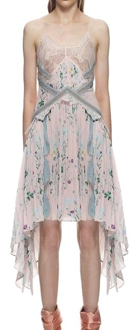 Item - Pink Floral Printed Handkerchief Mid-length Cocktail Dress Size 6 (S)