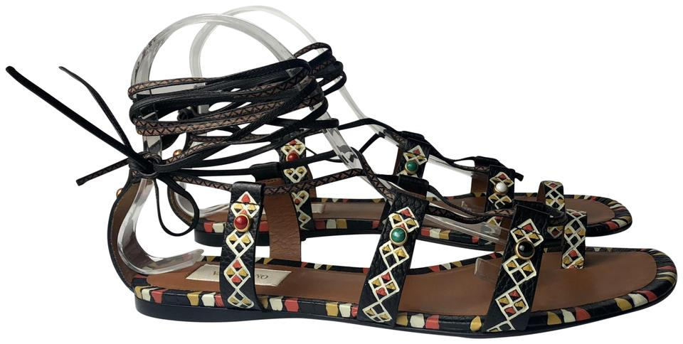 60e5409a1ce Valentino Black Rockstud Hand Painted Africa Tribal Gladiator Sandals