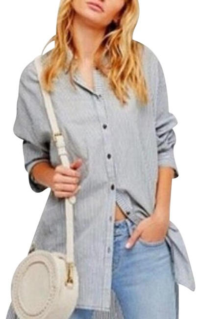 Free People Green White Stripe XS Oversized Button Front Shirt Button-down Top Size 2 (XS) Free People Green White Stripe XS Oversized Button Front Shirt Button-down Top Size 2 (XS) Image 1