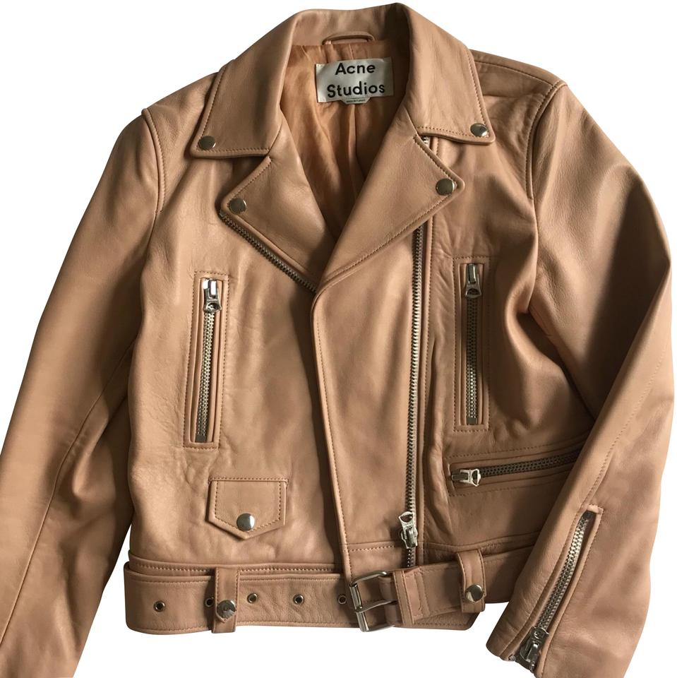 """shop for luxury select for authentic good reputation Acne Studios Beige/Light Pink Belted """"mock"""" Moto Jacket Size 6 (S) 18% off  retail"""