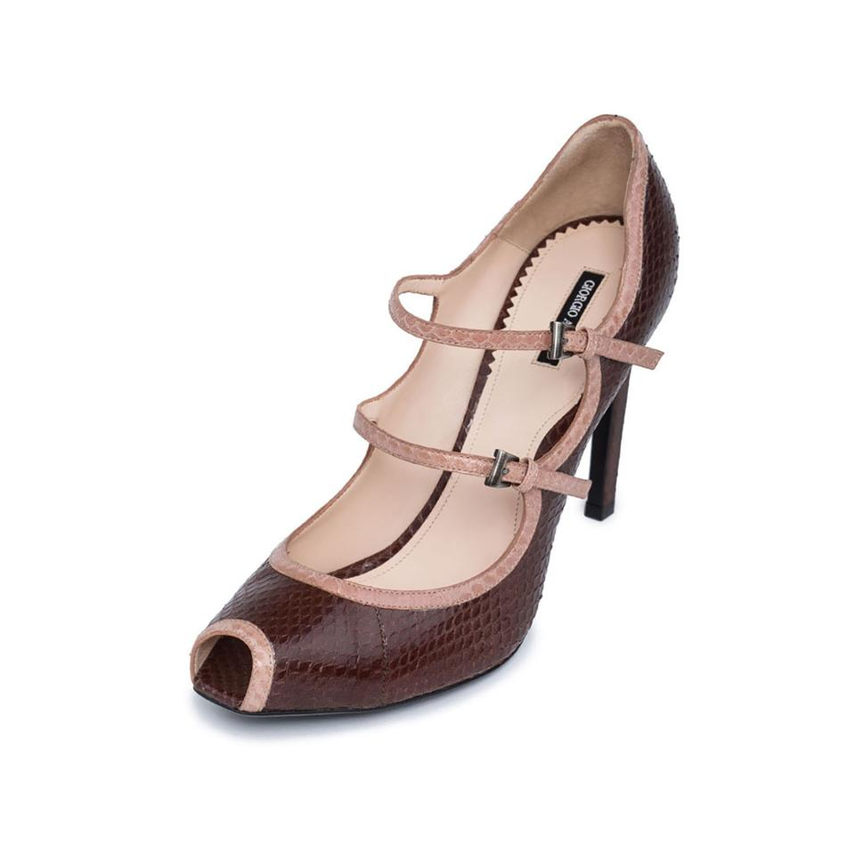 Giorgio Armani Brown New Women Snake Leather High Peep Toe Mary Jane High Leather Pumps d862ee
