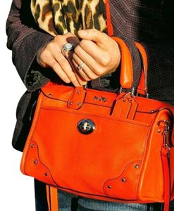 Coach Leather Crossbody Satchel in Coral
