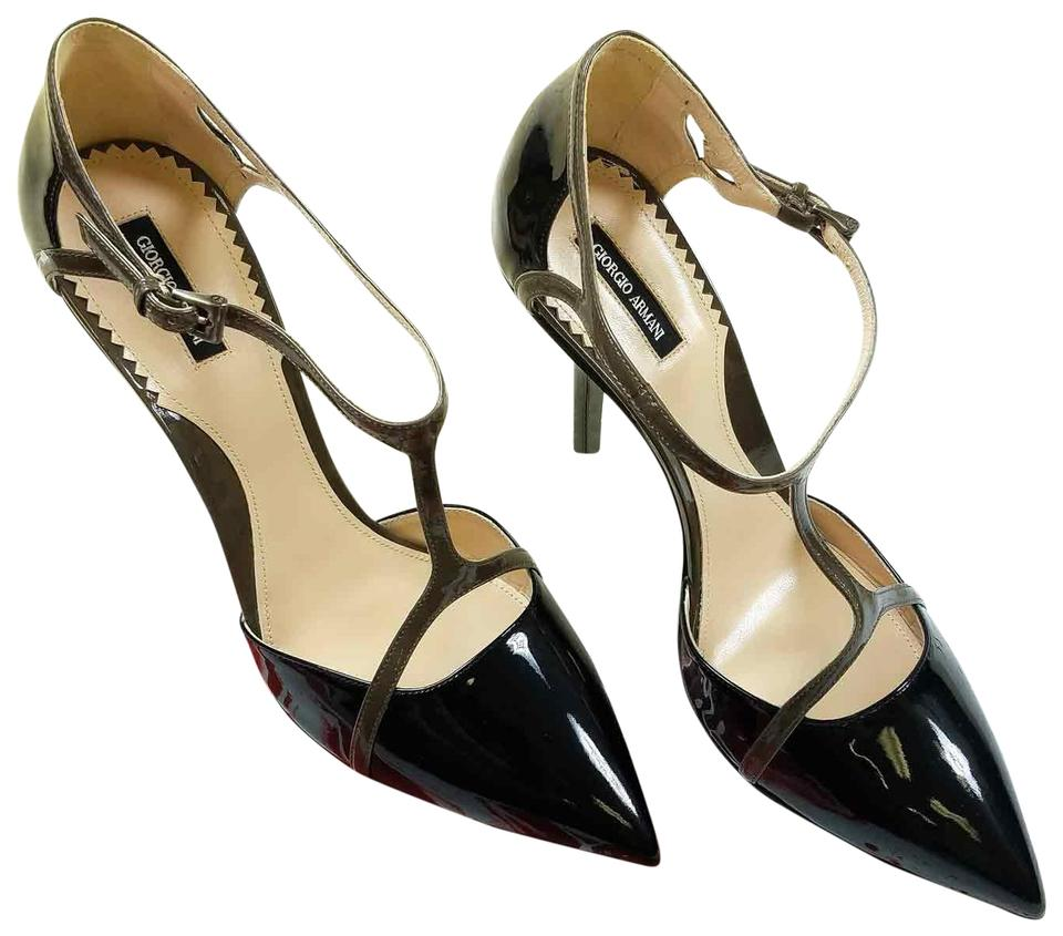 224ae3a1b328 Giorgio Armani Black New Women Patent Leather Pointed Toe T-strap Pumps  Size US 9.5 Regular (M