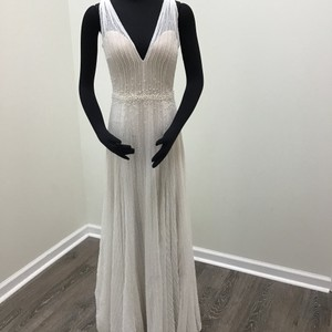 878f2b9133d7 Wtoo Ivory/ Cashmere Beaded Reyna Stripe Soft Netting Illusion Tulle  Stretch Poly Charmeuse Pearl Buttons