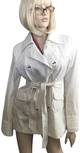Item - White Anthropologie Belted Cotton Coat Size 12 (L)