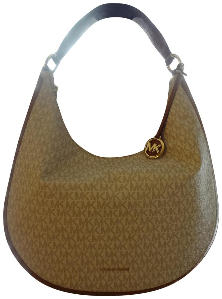 2f6aba24fa8f Michael Kors Lydia Bag  includes Free Gift    Cognac and Vanilla Coated  Canvas with Leather Trim Hobo Bag