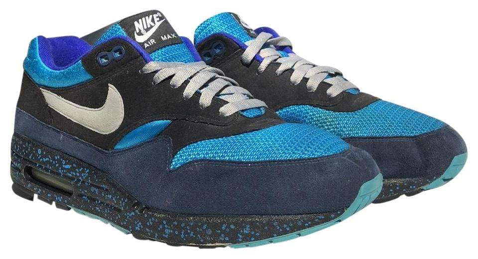 7c3dc66db1f88 Nike Navy Blue/Turquoise Blue/Gray Air Max 1 Id Sneakers. Size: US 11 ...