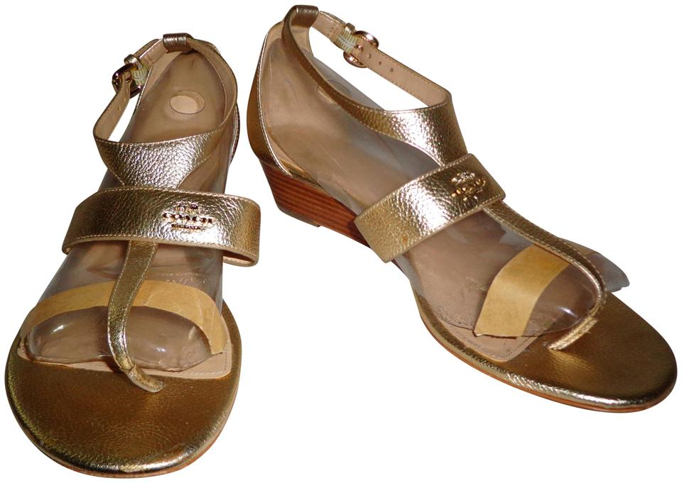 37a60523501 Coach Gold Pebble Leather Low Wedge Sandals. Size  US 9.5 Regular (M ...