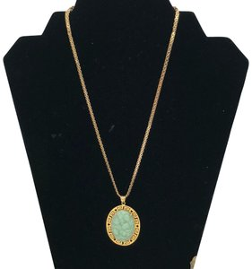 14KT Gold Greek Key Hole Carved Green Jade Necklace Greek Key Hole & Heart Carved Green Jade Pendant & Flat Chain Necklace