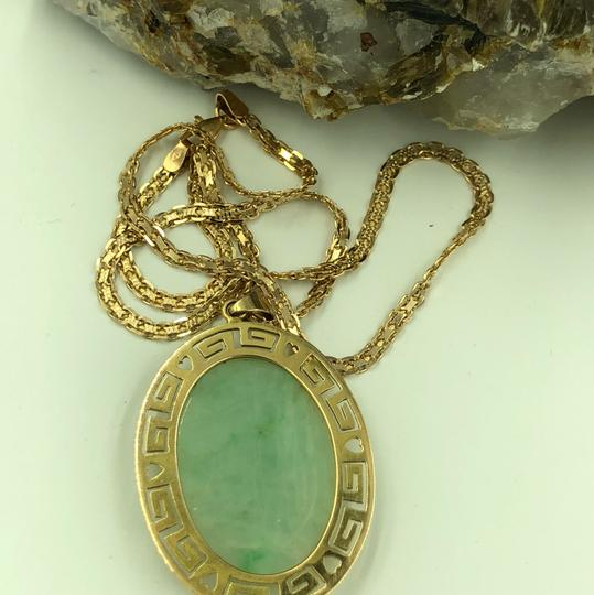 14KT Gold Greek Key Hole Carved Green Jade Necklace Greek Key Hole & Heart Carved Green Jade Pendant & Flat Chain Necklace Image 2